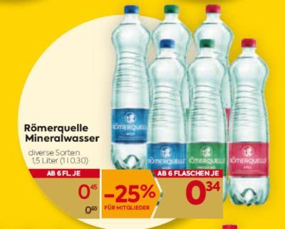 Römerquelle Mineralwasser in diversen Sorten um € 0,45