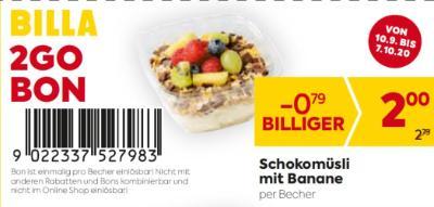 Billa 2GO Bon: Schokomüsli mit Banane um € 0,79 billiger.