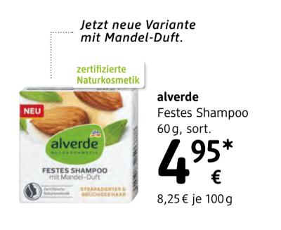 Alverde Festes Shampoo sortiert um € 4,95