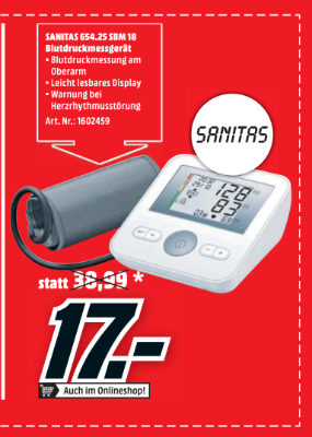 Sanitas 654.25 SBM 18 Blutdruckmessgerät