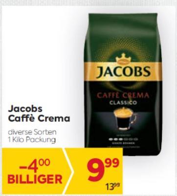 Jacobs Caffè Crema in diversen Sorten um € 9,99