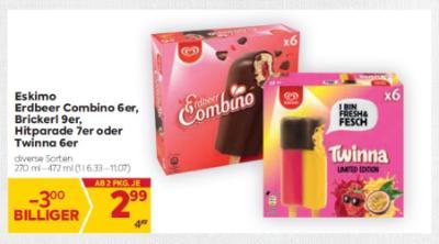 Eskimo Erdbeer Combino 6er, Brickerl 9er, Hitparade 7er oder Twinna 6er um € 2,99