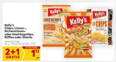 Kelly's Chips, Linsen-, Kichererbsenoder Hashtagchips, Riffles oder Giants in diversen Sorten um € 1,32