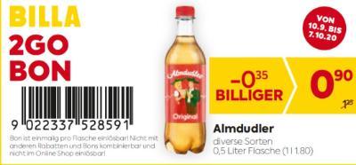 Billa 2GO Bon: Almdudler in diversen Sorten um € 0,35 billiger.