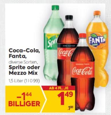 Coca-Cola, Fanta in diversen Sorten, Sprite oder Mezzo Mix um € 1,49