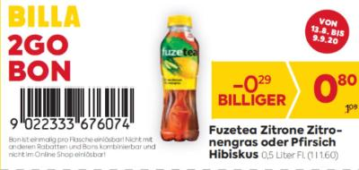 Billa 2GO Bon: Fuzetea Zitrone Zitronengras oder Pfirsich Hibiskus (0,5 L Flasche) um € 0,29 billiger
