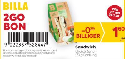 Billa 2GO Bon: Sandwich in diversen Sorten um € 0,39 billiger.