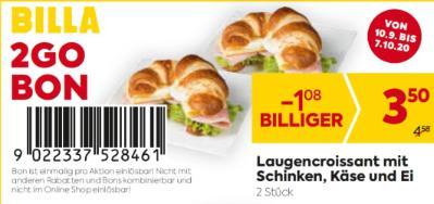 Billa 2GO Bon: Laugencroissant mit Schinken, Käse und Ei (2 Stück) um € 1,08 billiger.