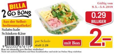 Billa 2GO Bon: Salatschale Schinken-Käse um €0.29 billiger.