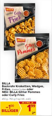 Billa Backrohr Kroketten, Wedges, Frites in diversen Sorten oder NEU: BILLA Gitter Pommes oder Curly Fries um € 1,99