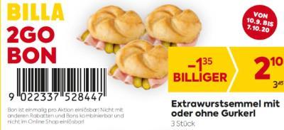 Billa 2GO Bon: Extrawurstsemmel mit oder ohne Gurkerl (3 Stück) um € 1,35 billiger.