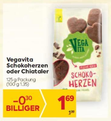 Vegavita Schokoherzen oder Chiataler um € 1,69