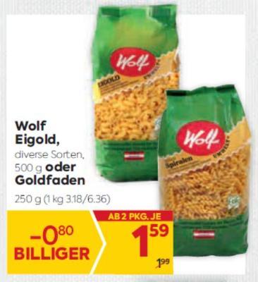 Wolf Eigold in diversen Sorten oder Goldfaden Teigwaren um € 1,59