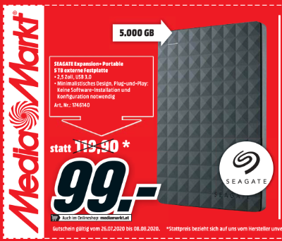 Seagate Expansion+ Portable 5 TB externe Festplatte