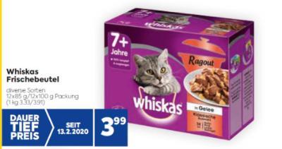 Whiskas Frischebeutel in diversen Sorten um € 3,99