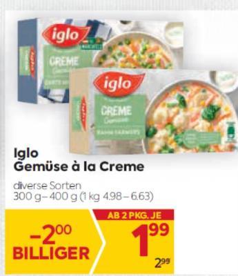 Iglo Gemüse à la Creme in diversen Sorten um € 1,99