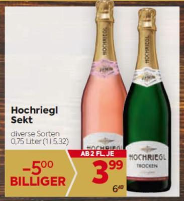 Hochriegl Sekt in diversen Sorten um € 3,99
