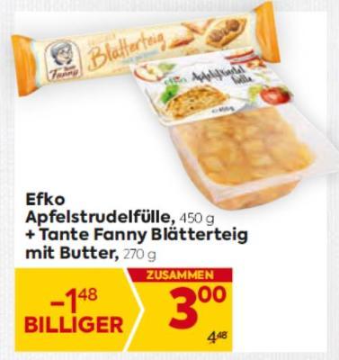 Efko Apfelstrudel + Tante Fanny Blätterteig mit Butter um € 3,-