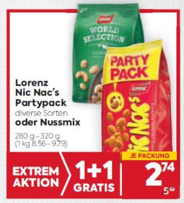 Lorenz Nic Nac's Partypack in diverse Sorten oder Nussmix um € 2,74