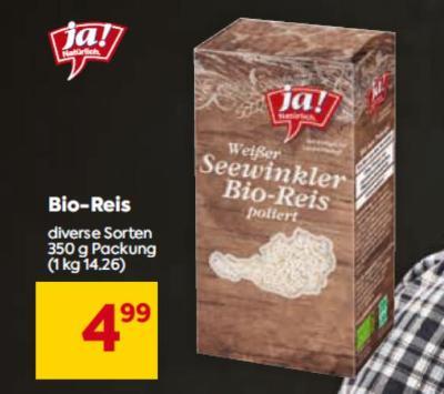 Ja Natürlich Bio-Reis in diversen Sorten um € 4,99