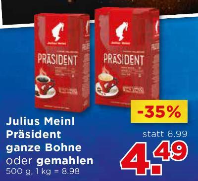Julius Meinl Präsident ganze Bohne oder gemahlen