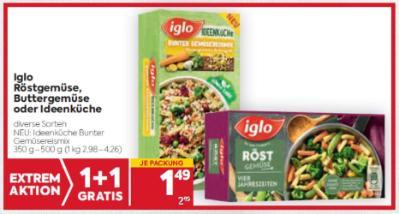 Iglo Röstgemüse, Buttergemüse oder Ideenküche in diversen Sorten um € 1,49