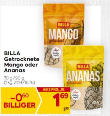 Billa getrocknete Mango oder Ananas um € 1,69