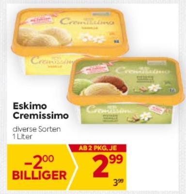 Eskimo Cremissimo in diversen Sorten um € 2,99