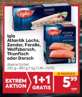 Iglo Atlantik Lachs, Zander, Forelle, Wolfsbarsch, Thunfisch oder Dorsch um € 5,99