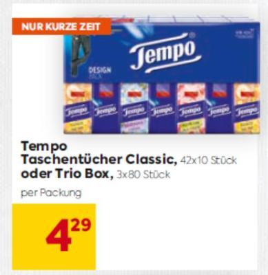 Tempo Taschentücher Classic oder Trio Box um € 4,29