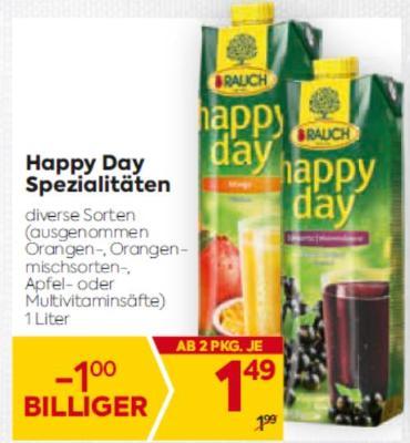Rauch Happy Day Spezialitäten in diversen Sorten (ausgenommen Orangen-, Orangenmischsorten-, Apfel- oder Multivitaminsäfte) um € 1,49