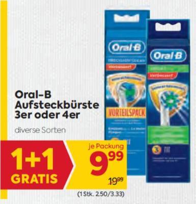 Oral-B Aufsteckbürste 3er oder 4er um € 9,99