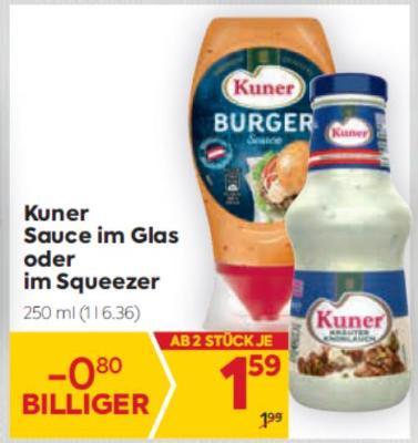 Kuner Sauce im Glas oder im Squeezer um € 1,59