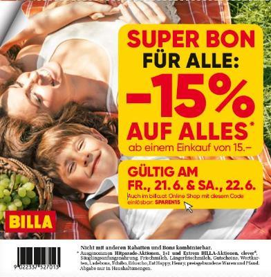 Super Bon für alle: -15% auf alles ab einem Einkauf von 15 Euro!