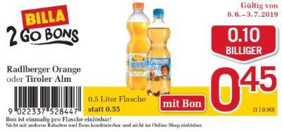 Billa 2GO Bon: Radlberger Orange oder Tiroler Alm um € 0,10 billiger.
