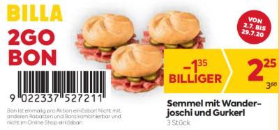 Billa 2GO Bon: Semmel mit Wanderjoschi und Gurkerl (3 Stück) um € 1,35 billiger.
