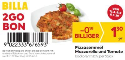 Billa 2GO Bon: Pizzasemmel Mozzarella und Tomate um € 0,19 billiger.