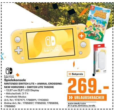 Nintendo Switch Lite Spielekonsole + Animal Crossing + Switch Lite Tasche