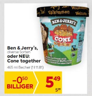 Ben & Jerry's in diversen Sorten oder NEU: Cone together um € 5,49