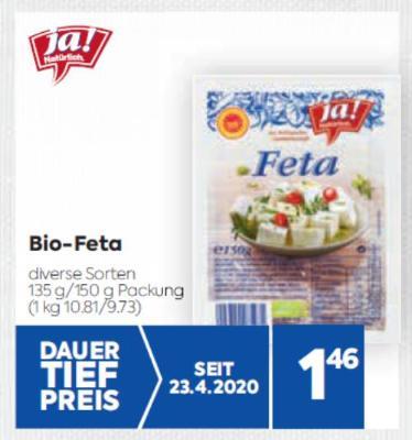 Ja Natürlich Bio Feta in diversen Sorten um € 1,46