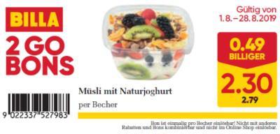Billa 2GO Bon: Müsli mit Naturjoghurt um € 0,49 billiger.