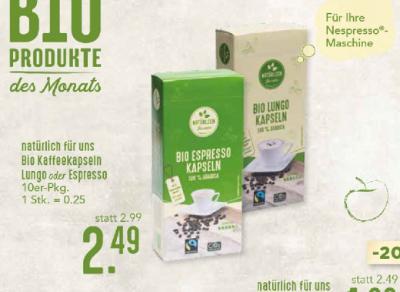 natürlich für uns Bio Kaffeekapseln Lun go octer Espresso