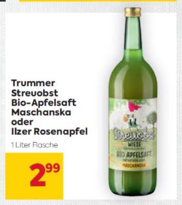 Trummer Streuobst Bio-Apfelsaft Maschanska oder Ilzer Rosenapfel um € 2,99