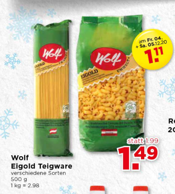 Wolf Eigold Teigwaren verschiedene Sorten um € 1,49