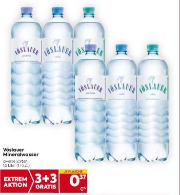 Vöslauer Mineralwasser in diversen Sorten um € 0,37