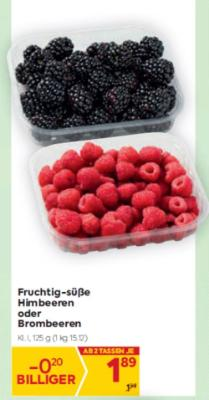 Fruchtig-süße Himbeeren oder Brombeeren um € 1,89