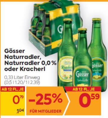 Gösser Naturradler, Naturradler 0,0% oder Kracherl um € 0,79