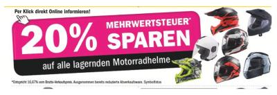 20% Mehrwertsteuer sparen auf alle lagernden Motorradhelme