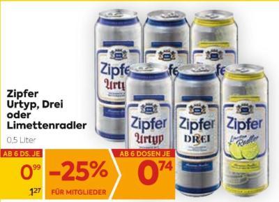 Zipfer Urtyp, Drei oder Limettenradler um € 0,99