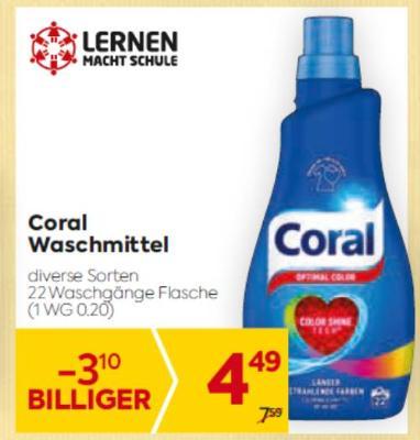 Coral Waschmittel in diversen Sorten um € 4,49